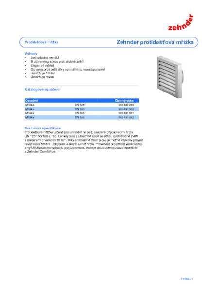 Technické parametre protidažďová mriežka